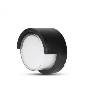 V-Tac 12W LED svart vegglamper - Rund, IP65 utendørs, 230V, inkl. lyskilde
