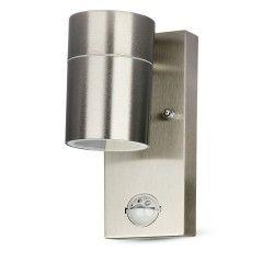 V-Tac vegglamper m. sensor - IP44 utendørs, rustfri, GU10 sokkel, uten lyskilde