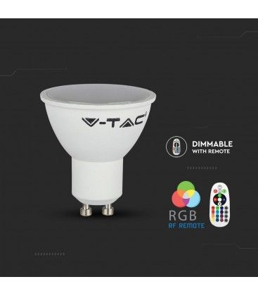 V-Tac 3,5W RGB LED pære - Med RF fjernkontroll, GU10