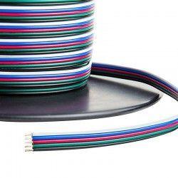 LED strips 12-24V RGB+W kabel - 5 x 0,5 mm², metervare, min. 5 meter