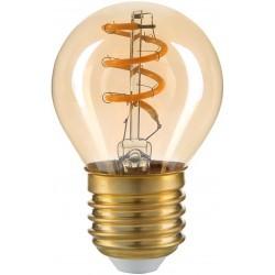 E27 vanlig LED 3W LED pære - Karbon filamenter, røkt glas, G45, E27, 230V