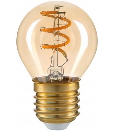 3W LED pære - Karbon filamenter, røkt glas, G45, E27, 230V