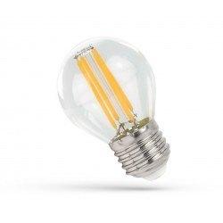 E27 vanlig LED 4W LED kronepære - G45, Karbon filamenter, klart glas, E27