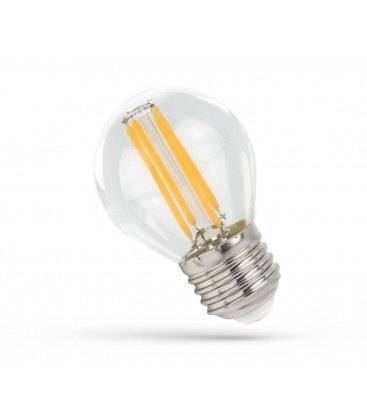 4W LED kronepære - G45, Karbon filamenter, klart glas, E27