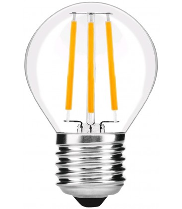 4W LED kronepære - Karbon filamenter, G45, klart glas, E27