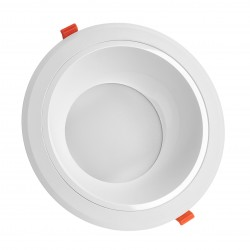 Downlights 25W LED spotlight - Hull: Ø21 cm, Mål: Ø23 cm, 230V, IP44 våtrom & tak overheng