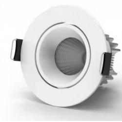 Downlights 7W 12V LED downlight - Hull: Ø6,5 cm, Mål: Ø7,9 cm, COB LED, hvit kant, dimbar