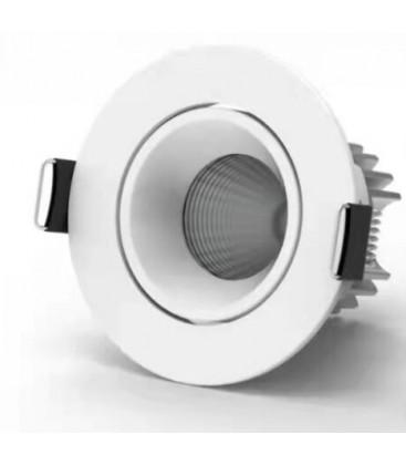 7W 12V LED downlight - Hull: Ø6,5 cm, Mål: Ø7,9 cm, COB LED, hvit kant, dimbar