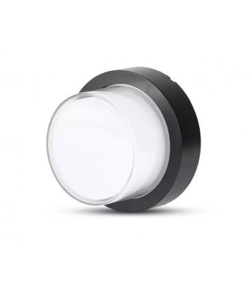 V-Tac 7W LED svart vegglamper - Rund, IP65 utendørs, 230V, inkl. lyskilde
