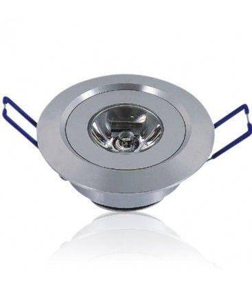1W downlight - Hull: Ø4,4-4,8 cm, Mål: Ø5,2 cm, 2,2 cm høy, 230V