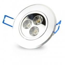 LED downlights 3W downlight - Hull: Ø7-8 cm, Mål: Ø8,4 cm, 4 cm høy, dimbar, 230V