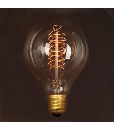 Vintage Edison antik E27, Glødetrådspære, G125, 40W, 230V