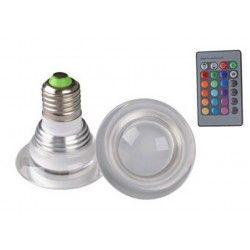 E27 LED RGB3 - LED pære, 3W, 230V, fjernkontroll, E27