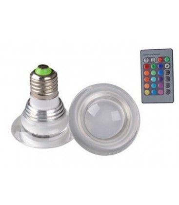 RGB3 - LED pære, 3W, 230V, fjernkontroll, E27