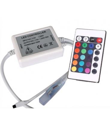 RGB controller med fjernkontroll - 230V, minnefunksjon, infrarød