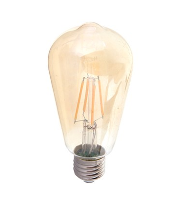 V-Tac 6W LED pære - Karbon filamenter, røkt glass, ekstra varm hvit, 2200K, ST64, E27