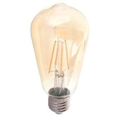 V-Tac V-Tac 4W LED karbon filamenter pære, 2200k - Røkt glass, 2200k, ST64, E27 - Dimbar : Ja, Lysfarge : Ekstra varm