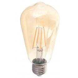 E27 vanlig LED V-Tac 4W LED karbon filamenter pære, 2200k - Røkt glass, 2200k, ST64, E27
