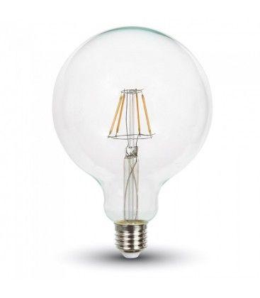 V-Tac 4W LED globe pære - Karbon filamenter, Ø12,5 cm, dimbar, E27