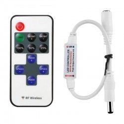 12V Trådløs dimmer med fjernkontroll - RF trådløs, minnefunksjon, 12V (30W)