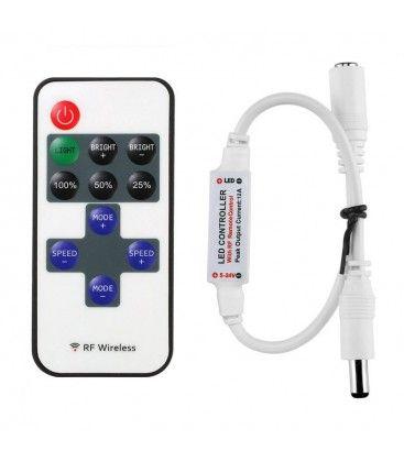 Trådløs dimmer med fjernkontroll - RF trådløs, minnefunksjon, 12V (30W)