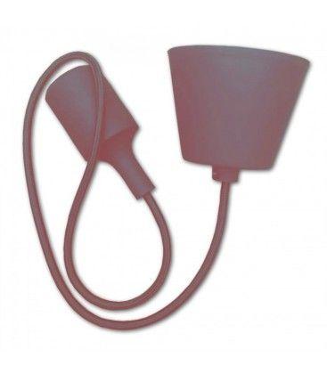 V-Tac silikon pendellampe med stoff kabel - Brun, E27