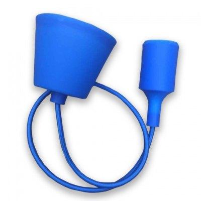 973875528 V-Tac Blå pendel med stoff kabel - 230V, E27 silikon sokkel