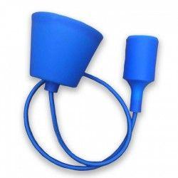 V-Tac Blå pendel med stoff kabel - 230V, E27 silikon sokkel