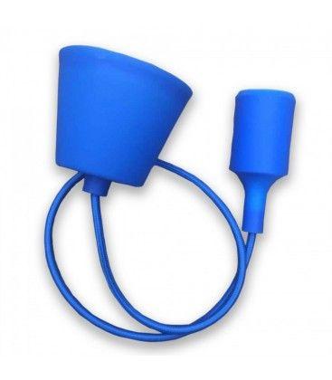 V-Tac silikon pendellampe med stoff kabel - Blå, E27