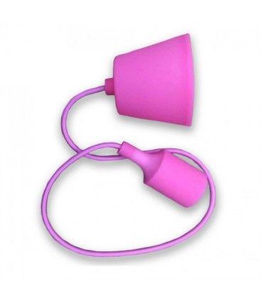 V-Tac silikon pendellampe med stoff kabel - Pink, E27