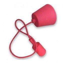 V-Tac Rød pendel med stoff kabel - 230V, E27 silikon sokkel
