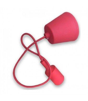 V-Tac silikon pendellampe med stoff kabel - Rød, E27