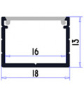 Bred alu-profil Type W til IP65, IP68 og 230V LED strip - 1 meter, mattert