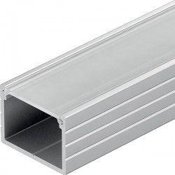 Aluminiumsprofiler Aluprofil Type W til IP65 og IP68 LED strip - Bred, 1 meter, inkl. mattert deksel og klips
