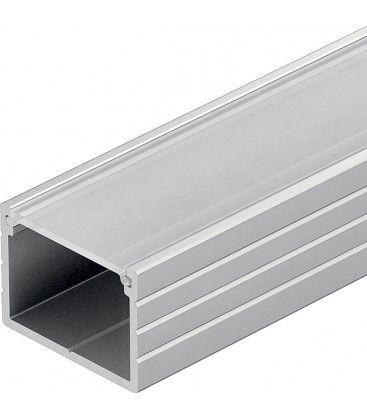 Aluprofil Type W til IP65 og IP68 LED strip - Bred, 1 meter, inkl. mattert deksel og klips