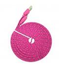 3 meter Iphone 5/6 USB kabel. Nylon. Fladt design. Flere farver