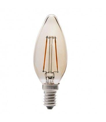 V-Tac 4W LED stearinlys pære - Karbon filamenter, røkt glass, ekstra varm hvit, E14
