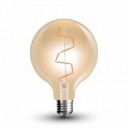E27 LED V-Tac 4W LED globe pære - Ø9,5 cm, Karbon filamenter, ekstra varm hvit, E27