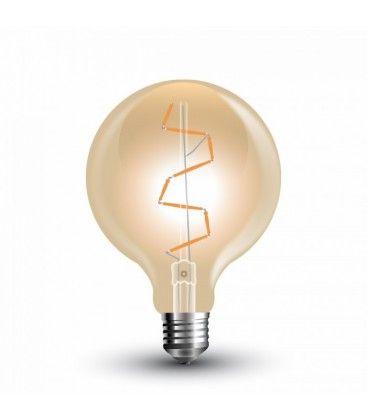 V-Tac 4W LED globe pære - Ø9,5 cm, Karbon filamenter, ekstra varm hvit, E27