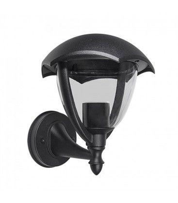V-Tac svart vegglampe - IP44 utendørs, E27 fatning, uten lyskilde