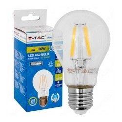 E27 vanlig LED V-Tac 4W LED pære - Karbon filamenter, varm hvit, E27