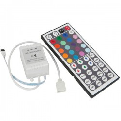 RGB controller med fjernkontroll - 12V, minnefunksjon, infrarød, 72W