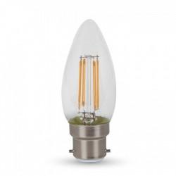 V-Tac 4W LED- stearinlys pære - Karbon filamenter, varm hvit, B22