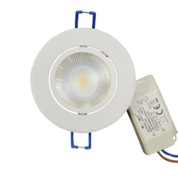 V-Tac 5W LED downlight - Hull: Ø7,2 cm, Mål: Ø8,8 cm, 230V