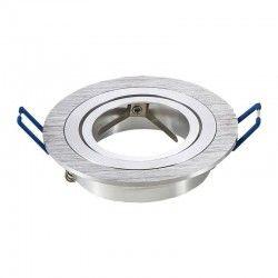 Downlights Downlight kit uten lyskilde - Hull: Ø7,5 cm, Mål: Ø9,1 cm, børstet aluminium, inkl. fatning til GU10 eller MR16