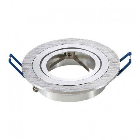 Downlight kit uten lyskilde - Hull: Ø7,5 cm, Mål: Ø9,1 cm, børstet aluminium, fatning til GU10 eller MR16