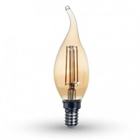 V-Tac 4W LED stearinlys pære i røkt glass - Karbon filamenter, 2200k, E14