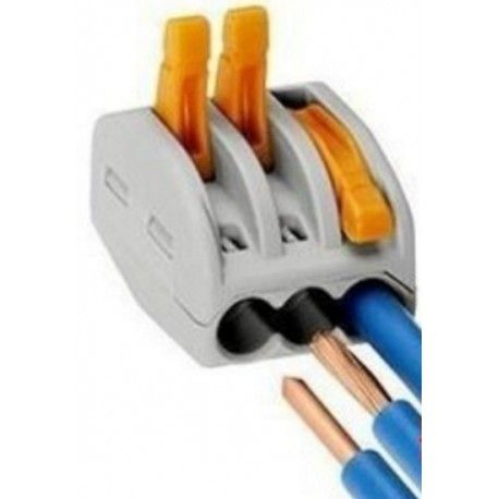 Skrueløs koblingsklemme til 3 ledninger