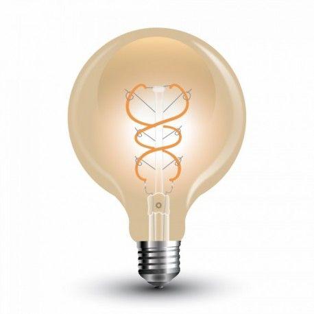 V-Tac 5W LED globe pære - Karbon filamenter, Ø9,5 cm, ekstra varm hvit, E27