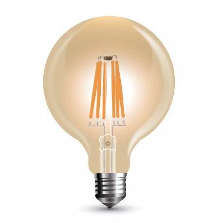 V-Tac 6W LED globe pære - Karbon filamenter, Ø9,5 cm, dimbar, ekstra varm hvit, E27